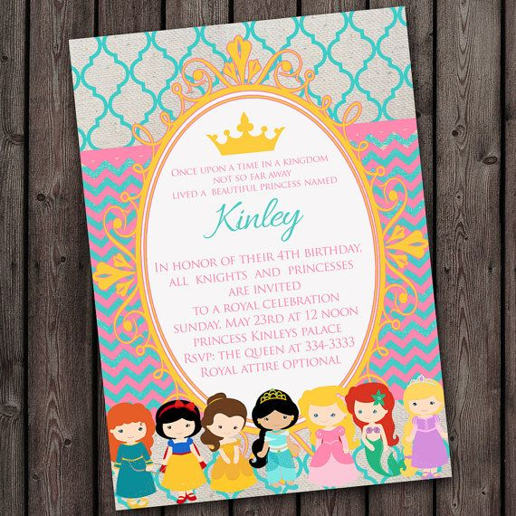 Princess Invitation, Royal Crown 5x7 (or 4x6), free customized wording, quick ship