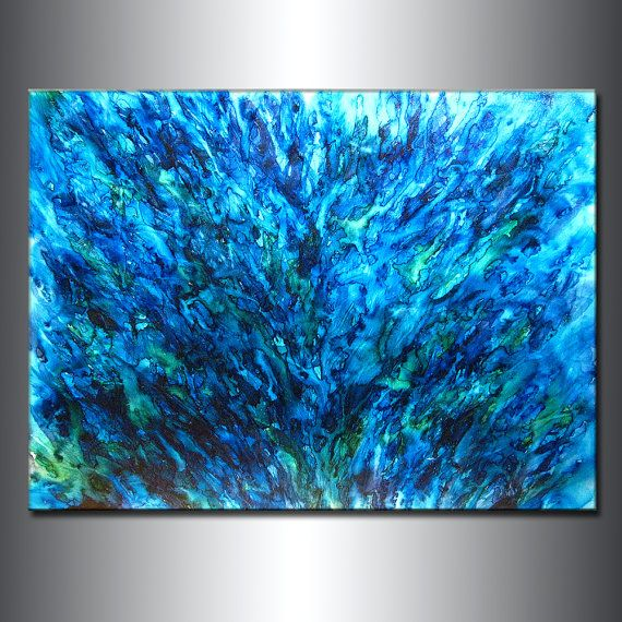 Abstract Art, Huge Abstract Painting, Original Abstract painting, Contemporary Modern Fine Art, Blue Canvas Art, by Henry Parsinia 48x36