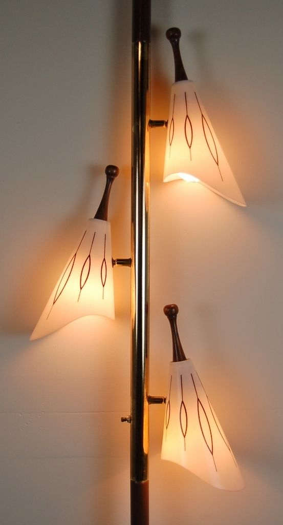 Awesome Atomic Mod Mid-Century Modern 3 Light Tension Pole Lamp...