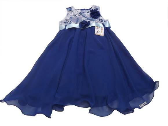 bdd93fd6a Vestido de Festa Infantil Azul Royal, busto tecido importado estampado azul  e branco saia godê de chiffon de seda Azul Royal, …