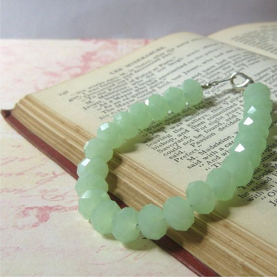 Bracelet pale milky green glass faceted by planettreasures on Etsy