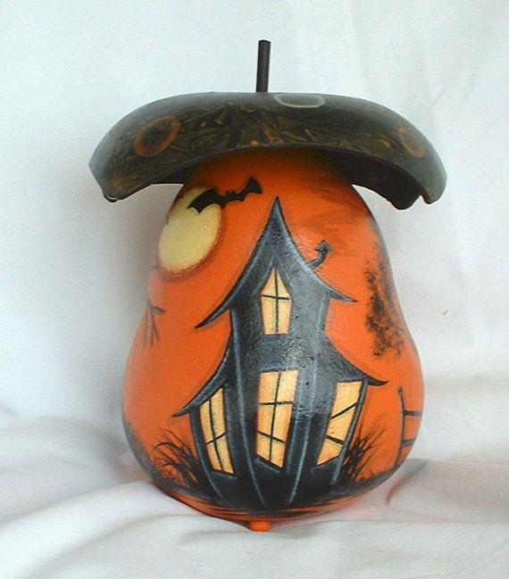 Halloween Fairy Gourd Mushroom House  Painted Gourds #Gourds Mushrooms, House Painting, Painted Gourds, Gourds Painting, Fairies Gourds, Mushrooms House, Halloween Fairies, Gourds Art, Painting Gourds