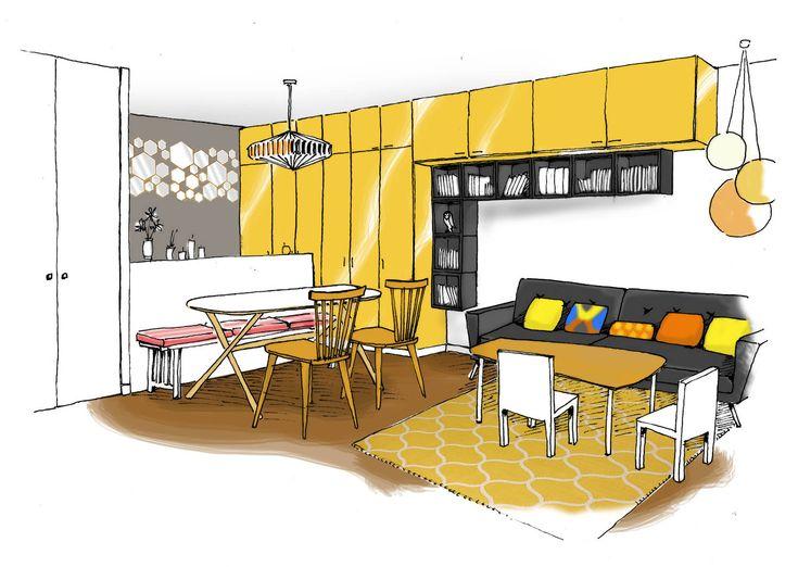 esquisse de projet, rénovation, appartement, Paris, maéma architectes