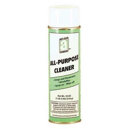 ALL PURPOSE CLEANER limpiador de uso general no tóxico, buen olor, y no se escurre en superficies verticales. MODO DE USO: Al esprear el área, saldrá espuma que penetrara y aflojara la suciedad, limpie con un trapo húmedo. EFECTOS: Elimina la suciedad, grasa, marcas de lápiz, huellas de manos, etc.,  sin dejar ningún residuo jabonoso.  En aerosol de 20 onzas (18 onzas neto).