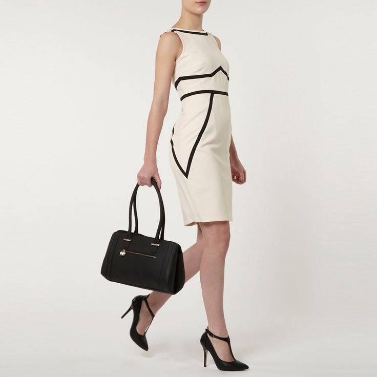 Blush and black taped pencil dress