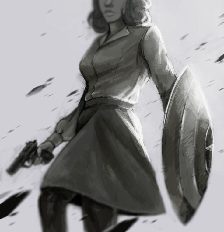 Peggy Carter holding a gun and Cap's shield fanart by romans-art