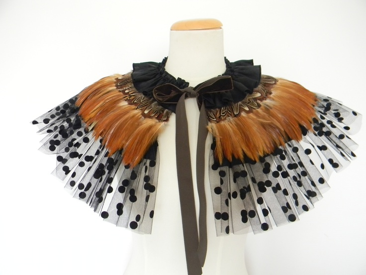 Tan Feather Spot Cape, feather cape, feather collar