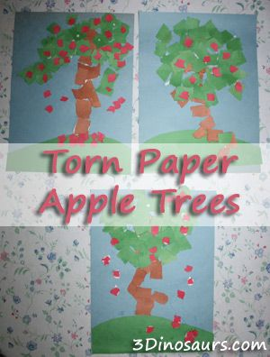 Torn Paper Apple Trees with the book Life Cycle of an Apple Tree - 3Dinosaurs.com