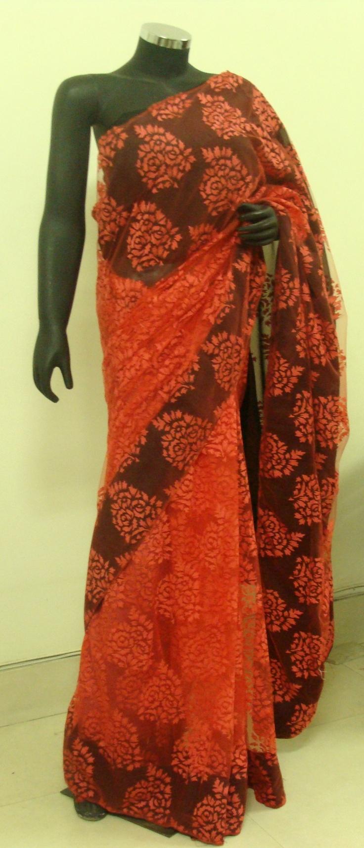 Red net woven saree with black detail. For more visit: www.facebook.com/Jalebi.delhi
