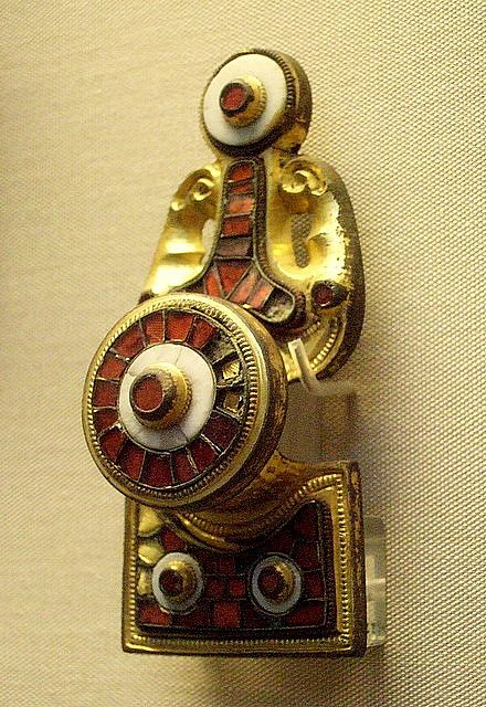 Early Scandinavian disc-on-bow brooch. 6th-7th century C.E.   In the British Museum.