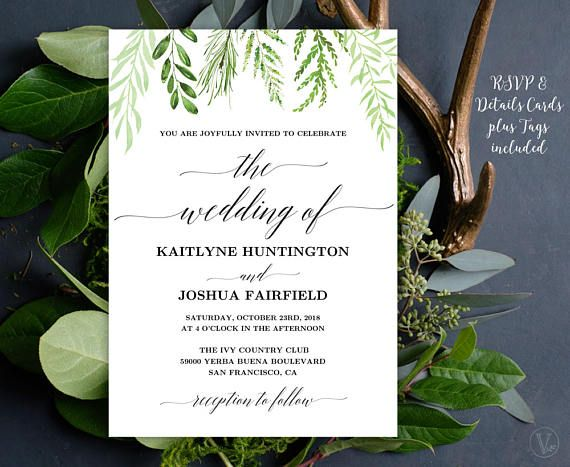 Modern botanical greenery wedding invitation set. This wedding invitation template set includes five high-resolution templates: invitation card, rsvp card, details card, monogram and date seal/tag templates. These are INSTANT DOWNLOAD printable wedding invitation templates that are affordable and stylish. You can edit and print as many as you need.  ––––––––––––––––––––––––––––––  SIMPLE & EASY TO USE 1. Download the PDF file(s) 2. Open with Adobe Reader — Free download at: www.get.a...