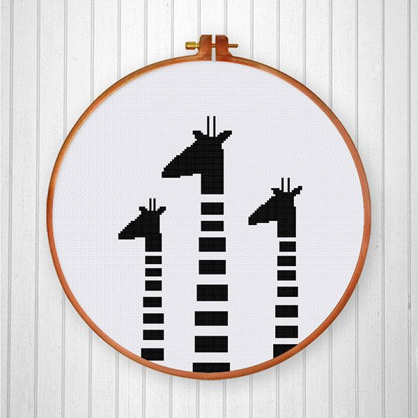 Black White Giraffes cross stitch pattern от ThuHaDesign на Etsy More