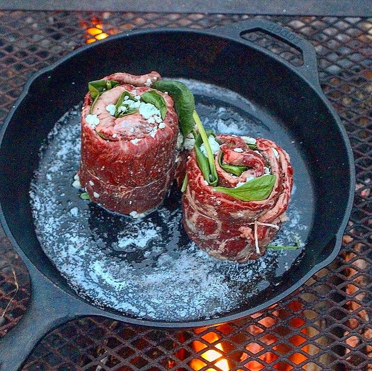 Introducing Pinwheel Skirt Steak from Derek Wolf at Over The Fire Cooking. This recipe is make with delicious steak, blue cheese and spinach all rolled together into one amazing dish! Cook this savory rolled meat over some hot Cowboy Charcoal at your next campfire! Sear it using your favorite cast iron pan plus butter to …