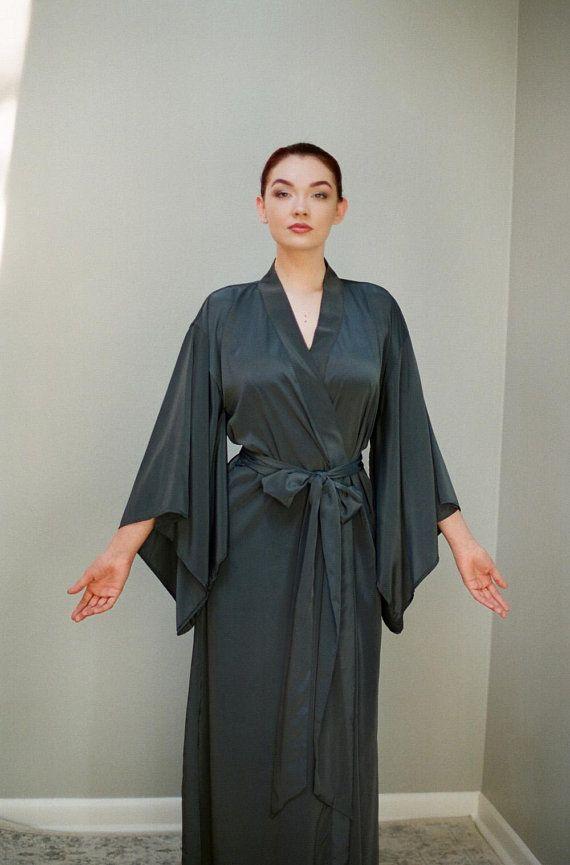 Ember. 1 custom long Noguchi kimono in faux silk.  7dbdd5d92