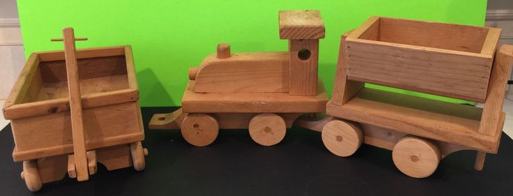 Vintage Wooden Toy Train And Wooden Toy Wagon Handmade In NC | Toys & Hobbies, Preschool Toys & Pretend Play, Wooden & Handcrafted Toys | eBay!