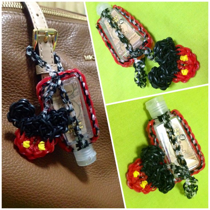 Rainbow loom hand sanitizer case with mickey mouse charm