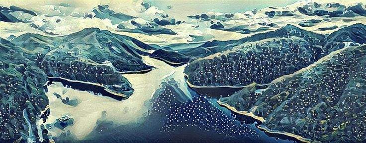 Illustration artwork - Lake and and Hills reflecting in the water