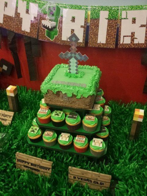 Pasteles para fiesta de cumpleaños de minecraft (6) - Tutus para Fiestas Mexico - Disfrases personalizados y moños
