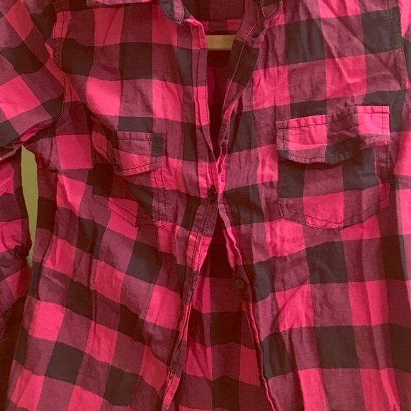 Pink flannel shirt, 3/4 sleeve button-up Pink flannel shirt, 3/4 sleeve button-up. Slightly sheer, great for festival season! 100% cotton! Ambiance Apparel Tops Button Down Shirts