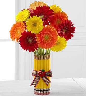 Back to School Gerbera Daisy Bouquet -  love the combo of bright gerberas with the bright yellow pencils - so cheery and cute