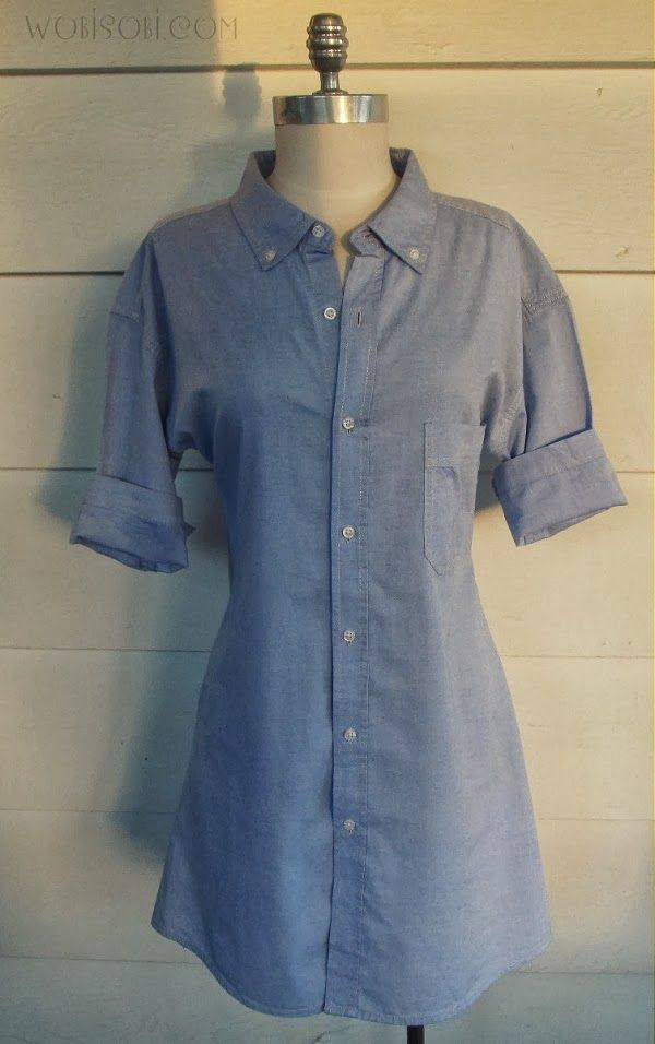 DIY Mens shirt dress #refashion by @L a Farme / Anne A. Hollabaugh aka. WobiSobi on BrassyApple.com #sewing
