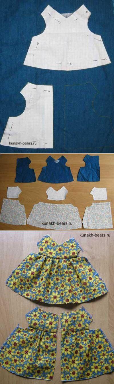 Авторские игрушки Кунах Ирины - Двустороннее платье для мишки.