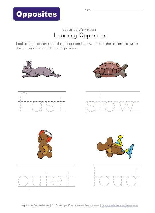 Number Names Worksheets opposite worksheets for first grade – Opposite Worksheets