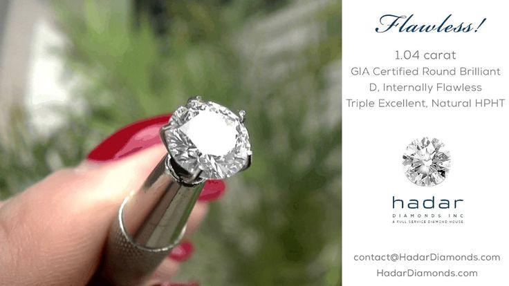 Valentine's Day Diamond Sale by Hadar Diamonds.com .  1.04 ct Round Brilliant, GIA Certified, Natural HPHT diamond.  Top D color, Internally Flawless, Triple Excellent, Ideal Cut!  Ideal for a Valentine's Day Engagement.  #hphtdiamonds #idealcut #flawless