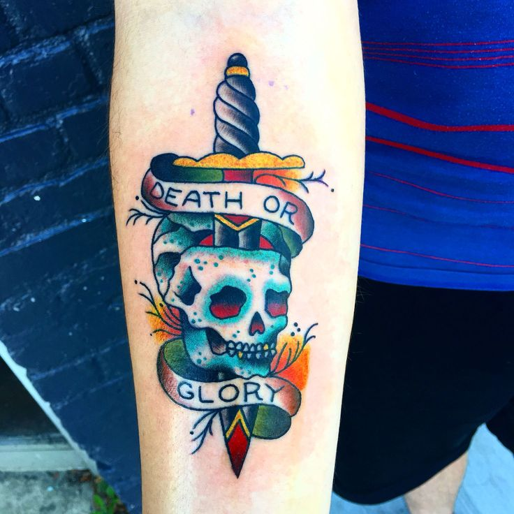 Death Or Glory traditional style done by Robin Wilcoxson (Enigma tattoo Richmond Va)