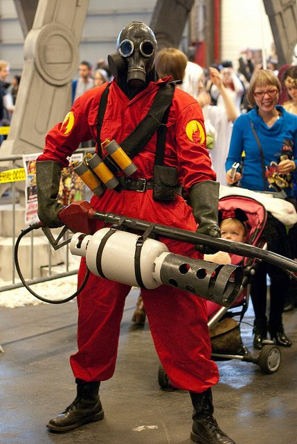 Pyro cosplay from Team Fortress 2...man, it must be hard carrying around that flamethrower all day!