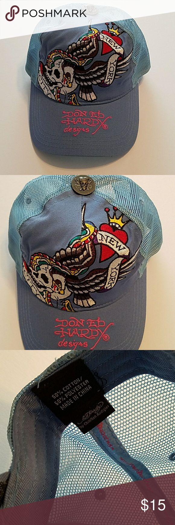 Ed Hardy Cap Authentic Don Ed Hardy designs 'New York City' snapback cap. Perfect condition, worn once.   Baby blue 50% Cotton 50% Polyester  Made in China Ed Hardy Accessories Hats