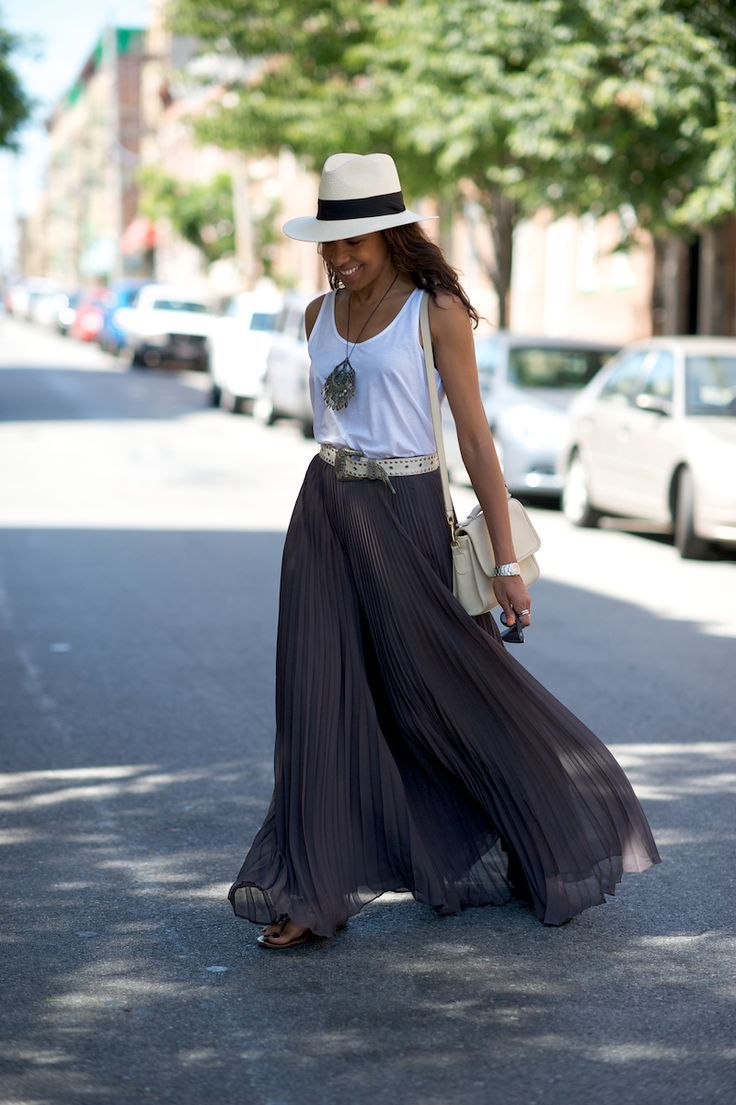 A fedora tops off our go-to summer outfit: a maxi skirt & tank!