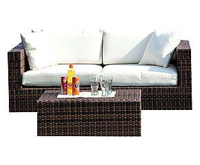 Divano con cuscini in polipropilene marrone Capri - 166x80x64 cm