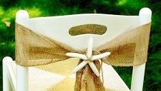 Burlap Chair Sash with Starfish Centerpiece  by AJRUSTICCREATIONS, $4.00