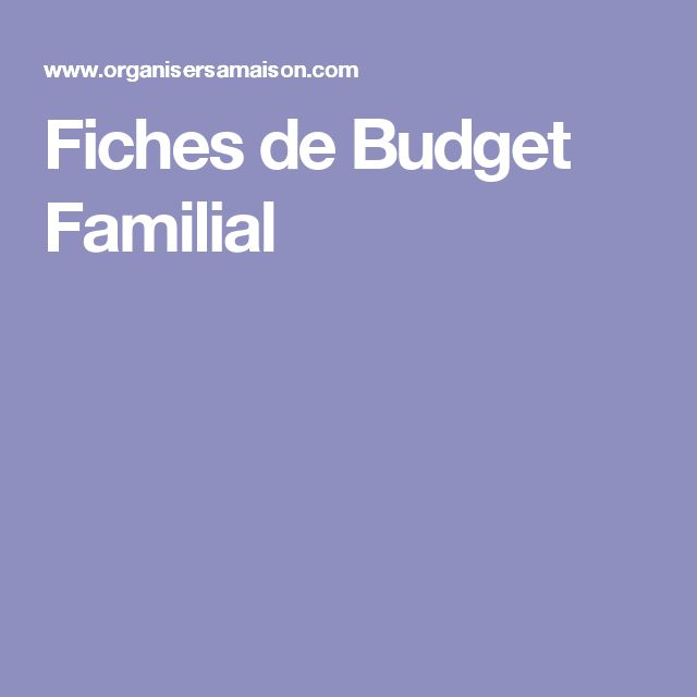 Fiches de Budget Familial