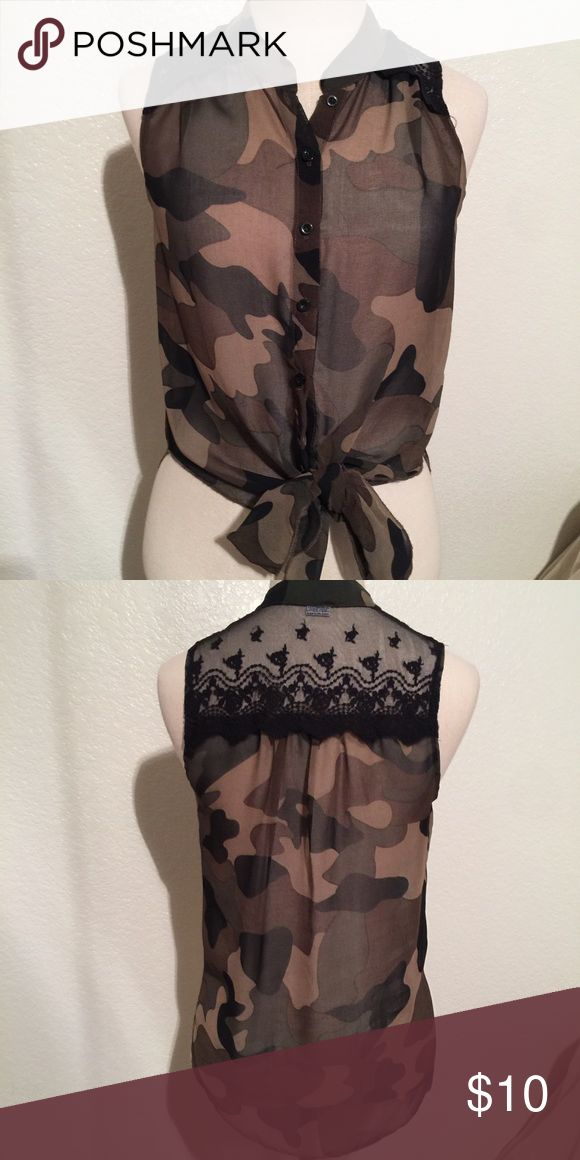 Sheer Camouflage Top Size Small This top is preloved and in great condition. Size Small. Tops Button Down Shirts