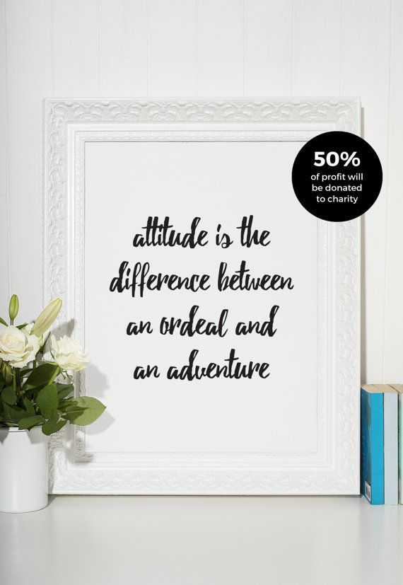 Attitude Is The Difference Typographic Print, Black and White Art, Home Decor, Modern, Monochromatic, Minimal Design, Inspire, A4 Poster