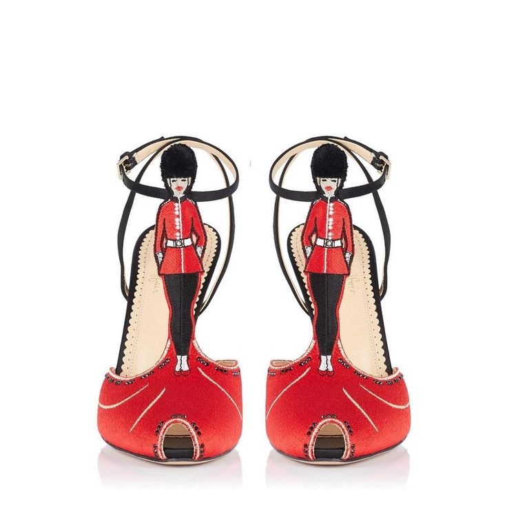 LONDON CALLING: The chicest member of the Queen's Guard can be found on the embroidered T-bar of this irresistible sandal  - Charlotte Olympia