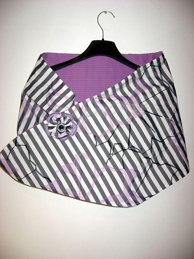 Coprispalle, scialle doubleface, taffetà grigio viola : Sciarpe, foulard…
