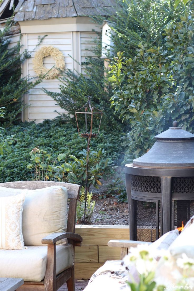 Stop by to see our fall patio and see even more beautiful outdoor spaces from my friends! #fall #falldecor #falloutdoors #fallpatio http://lehmanlane.net - garden shed and firepit