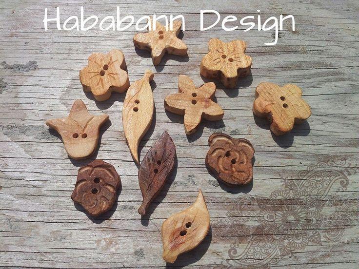 Wooden flower buttons.