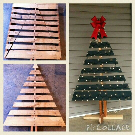Diy christmas tree for the porch made out of shipping for Crafts made out of pallets