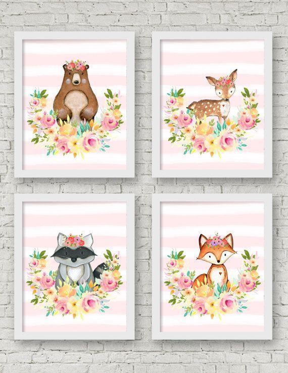Woodland Nursery Wall Art Set of 4 8x10 by SweetCarolinesStudio