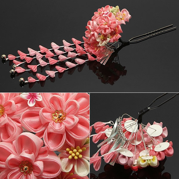 """Hana kanzashi / The thing that """" young woman"""" and """"Maiko"""" attach it to the hair."""