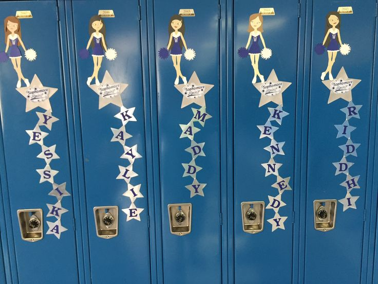Cheer locker decorations made using Cricut Explore Air and Paper Doll Teen Scene cartridge.