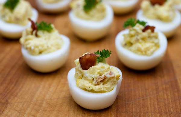 Bacon Blue Cheese Deviled Eggs from Framed Cooks