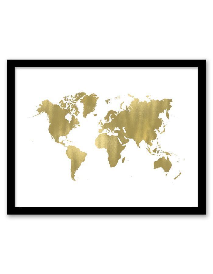 download and print this gold world free printable wall art for your home or office