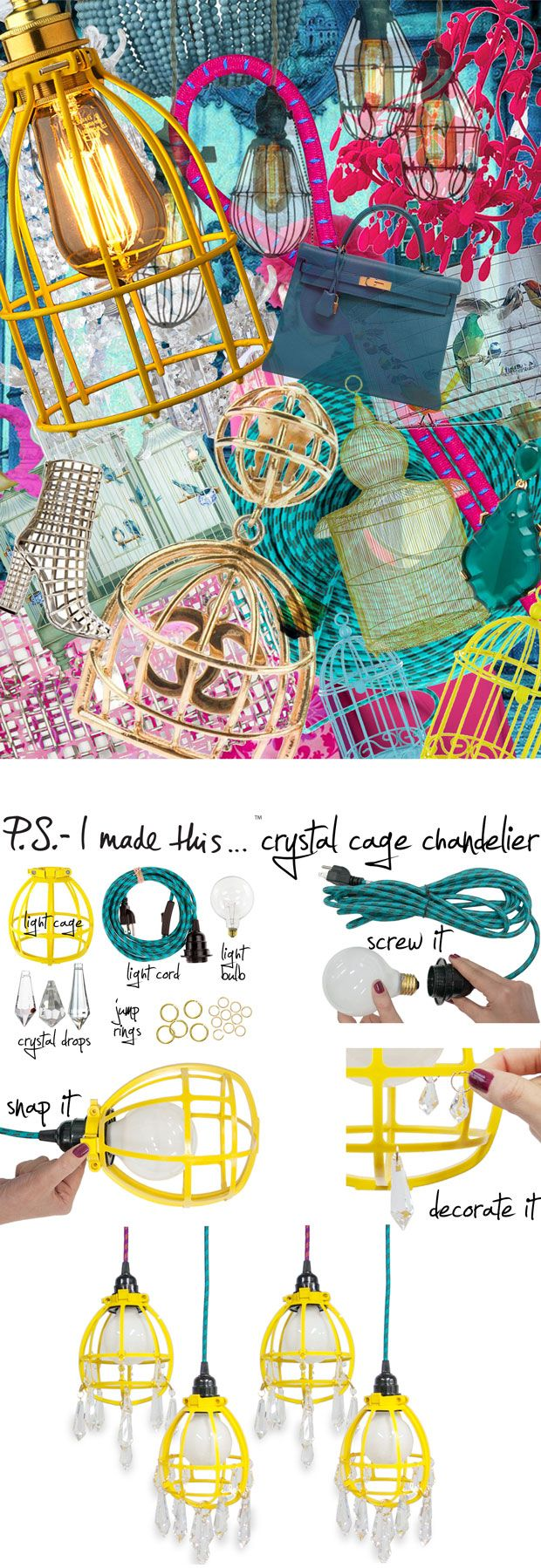 P.S.-I made this...Crystal Cage Chandelier #PSIMADETHIS #DIY @Color Cord Company
