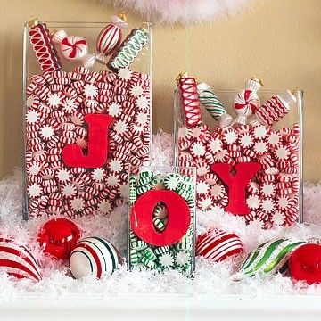 Clear Vases filled with different items for each season (Christmas candies, candy hearts, jelly beans, etc!)