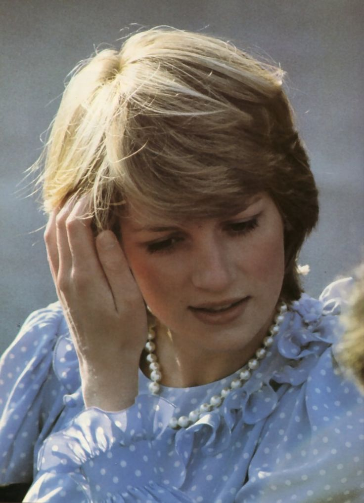A pregnant Princess Dian visits St Mary's on the Isles of Scilly with the Prince of Wales, April 20,1982. She is wearing a maternity dress by Catherine Walker.